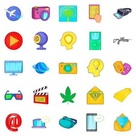 Virtual reality icons set, cartoon style