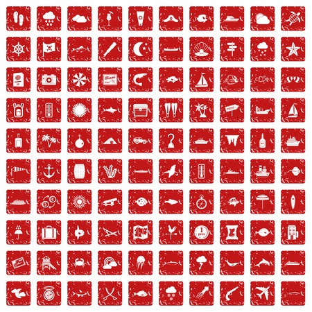 100 marine environment icons set grunge red Illustration