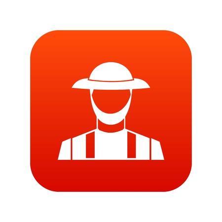 Farmer icon digital red