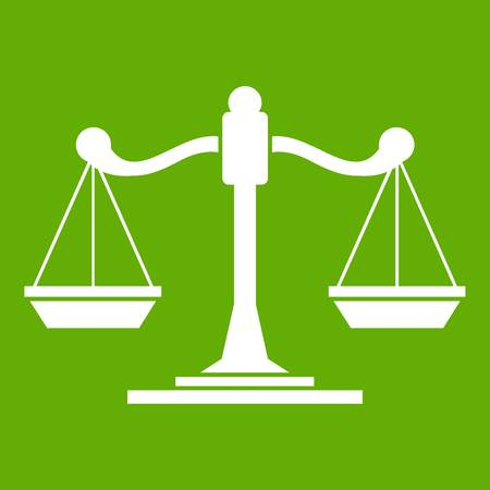 Scales of justice icon green Illustration