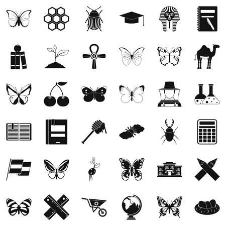 Insect icons set, simple style