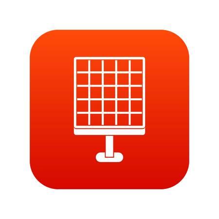 Solar panel icon digital red