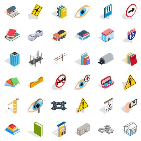 Project icons set, isometric style