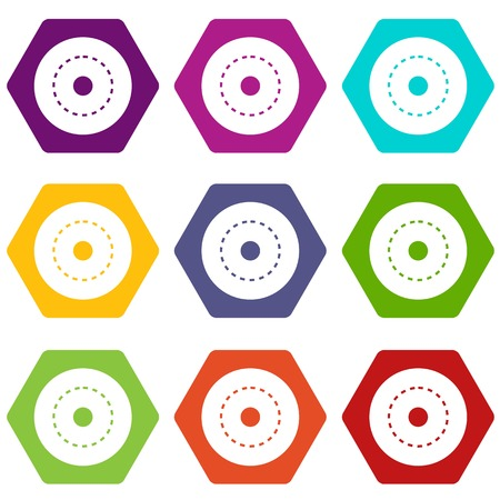Circle road icon set color hexahedron