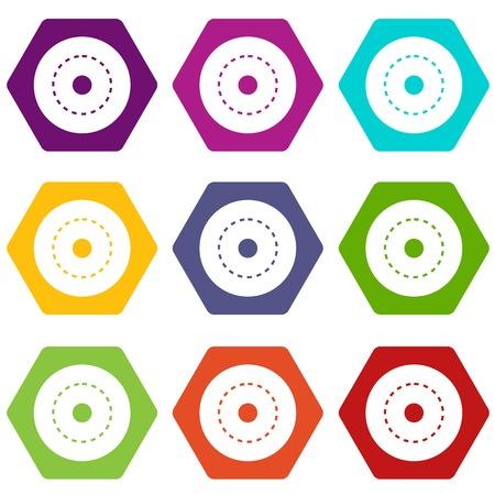 Circle road icon set color hexahedron