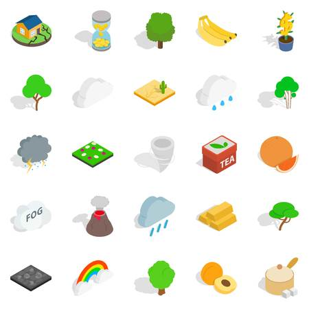 Mother nature icons set, isometric style