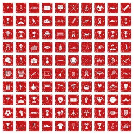100 medal icons set grunge red