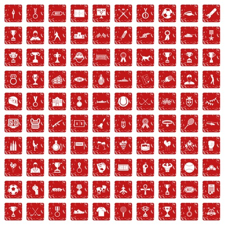 100 medal icons set grunge red