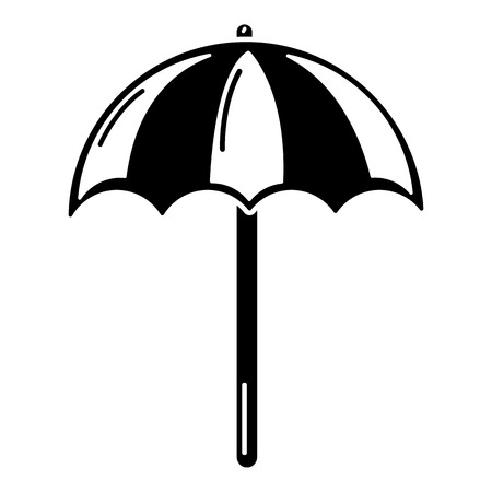Beach umbrella icon, simple black style Illustration