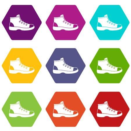 Tourist shoe icon set color hexahedron