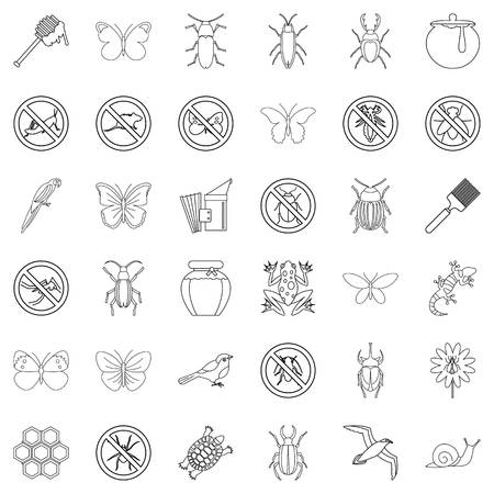 Etching icons set, outline style