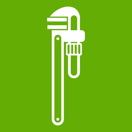 Pipe or monkey wrench icon green Illustration