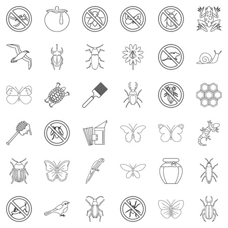 Butterfly icons set, outline style Illustration