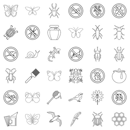 Rodent icons set, outline style Illustration