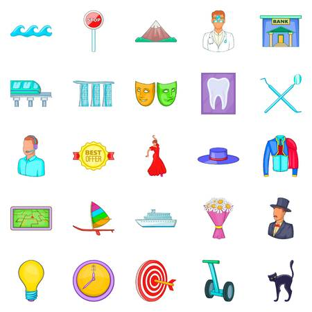 Visit icons set, cartoon style Stok Fotoğraf - 91988922