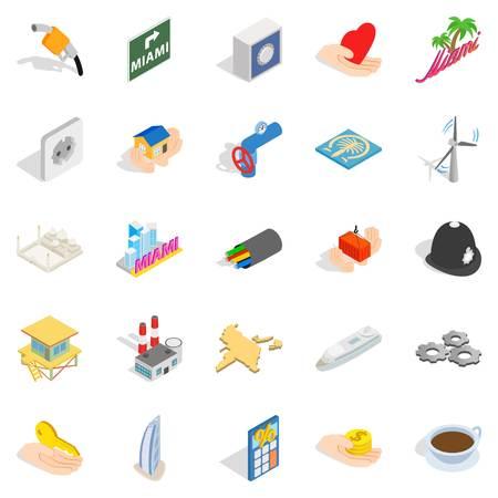 Automation icons set, isometric style