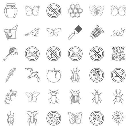 Flying icons set, outline style Illustration
