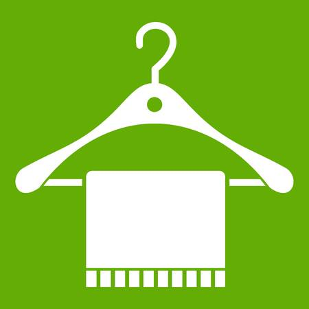 Scarf on coat hanger icon green