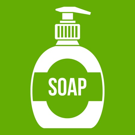 Bottle of liquid soap icon green