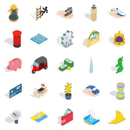 Automation management icons set, isometric style