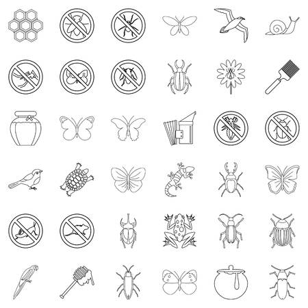 Insect icons set, outline style