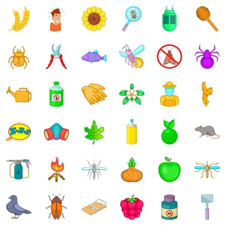 Insect icons set, cartoon style