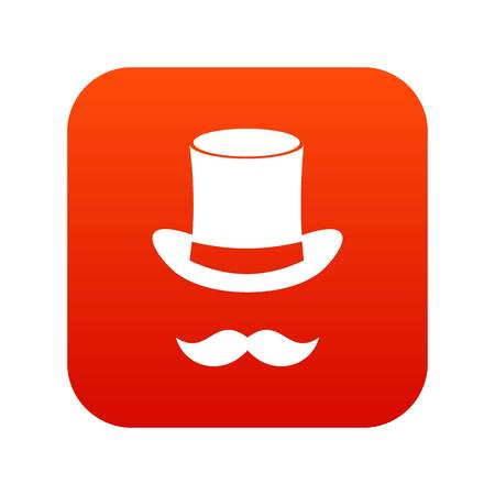 Magic black hat and mustache icon digital red
