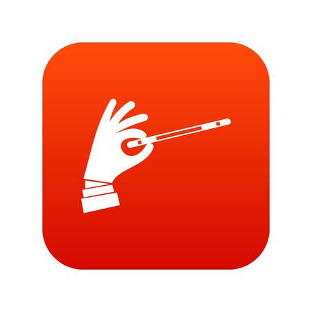 Magician hand with a magic wand icon digital red