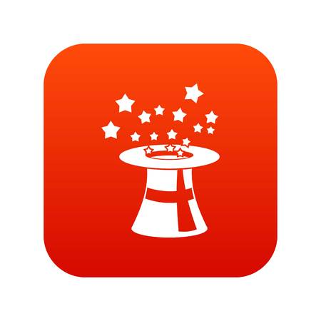 Magic hat with stars icon digital red