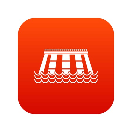 Hydroelectric power station icon digital red Illustration