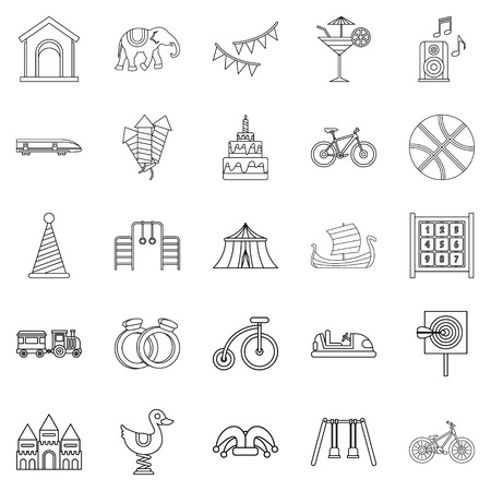 Coddle icons set, outline style