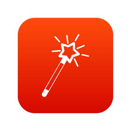 Magic wand icon digital red for any design isolated on white vector illustration Illustration