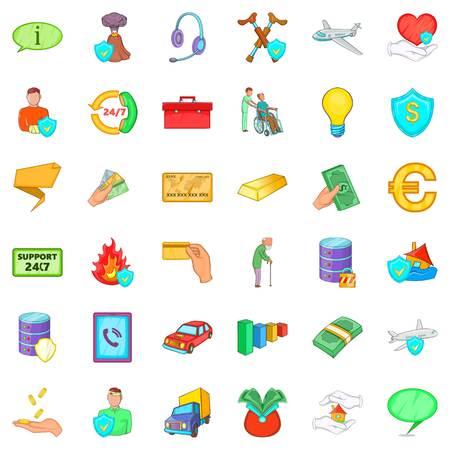 Safe icons set, cartoon style Illustration