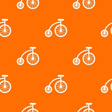Children bicycle pattern repeat seamless in orange color for any design. Vector geometric illustration Illustration