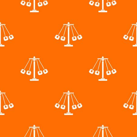 Carnival swing ride pattern repeat seamless in orange color for any design. Vector geometric illustration.