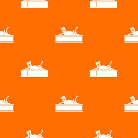 Sandbox with bucket and shovel pattern repeat seamless in orange color for any design. Vector geometric illustration.