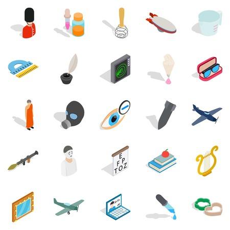 Thriller icons set. Isometric set of 25 thriller vector icons for web on white background. Vektorové ilustrace