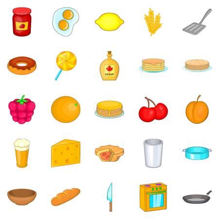Bakery icons set, cartoon style
