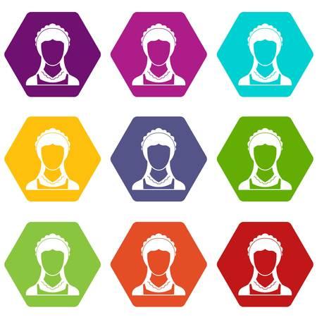 Reinigung Haushaltsservice Magd Icon Set Farbe Hexaeder