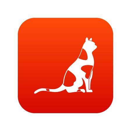 Sitting cat icon digital red