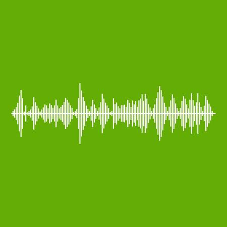 Musical pulse icon white isolated on green background.