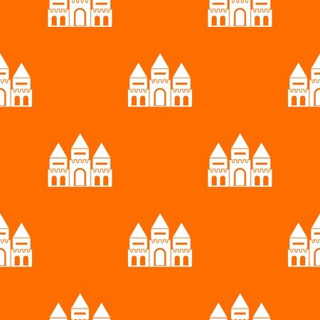 Children house castle pattern repeat seamless in orange color for any design. Vector geometric illustration Illustration