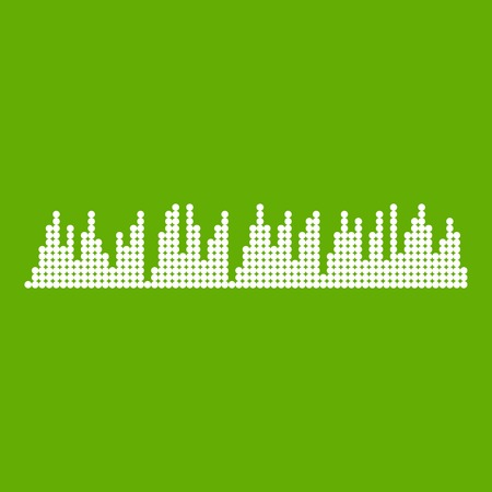 Audio digital equalizer technology icon white isolated on green background. Vector illustration