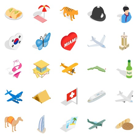 Constantly in motion icons set. Isometric set of 25 constantly in motion vector icons for web on white background.