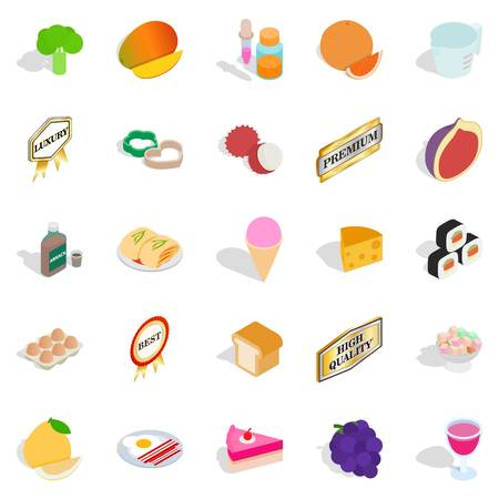 Filling a biscuit icons set. Isometric set of 25 filling a biscuit vector icons for web on white background. Illustration