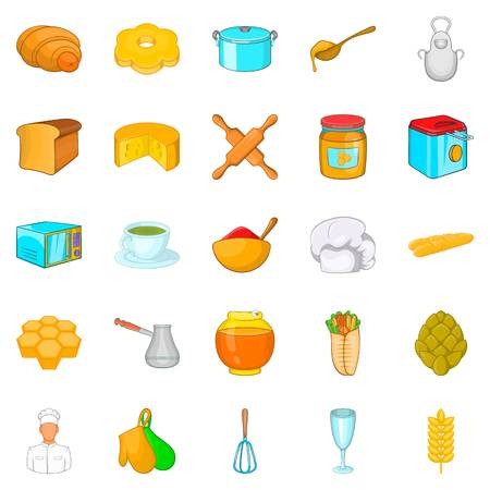 Bakehouse icons set. Cartoon set of 25 bakehouse vector icons for web isolated on white background