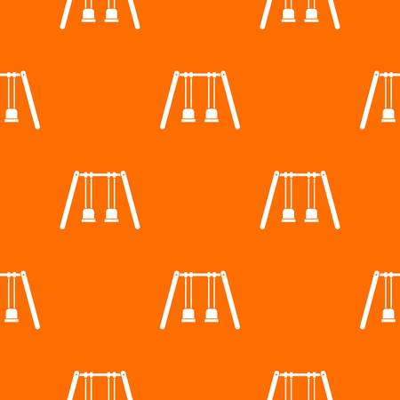 Wooden swings hanging on ropes pattern repeat seamless in orange color for any design. Vector geometric illustration.