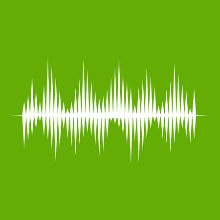 Audio digital equalizer technology icon white on green background. Illustration