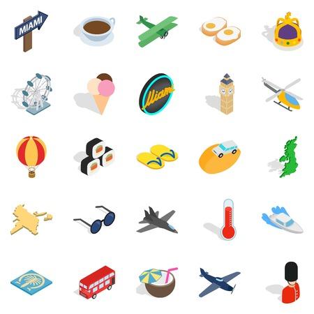 Unique travel icons set, isometric style
