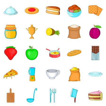 Fresh pastry icons set. Cartoon set of 25 fresh pastry vector icons for web isolated on white background